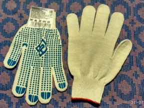 Перчатки трикотажные с пвх-покрытием 10 кл. вязки