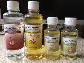 Пинен,льняное масло,лак:даммарный,акрилстирольный